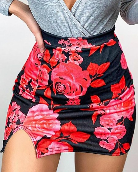 boutiquefeel / Floral Print Slit Skirt