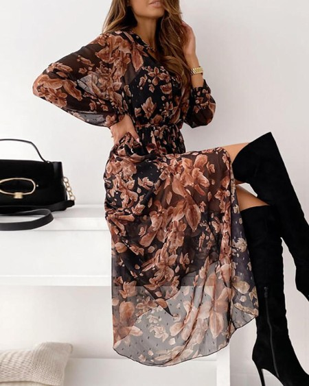 Sheer Mesh Floral Print High Slit Maxi Dress