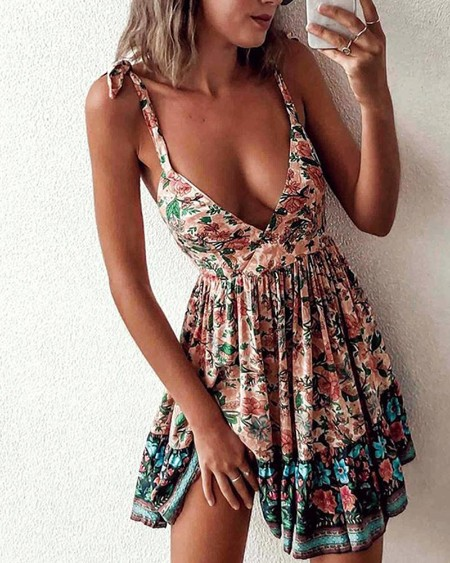 Backless Tie Strap Print Mini Dress