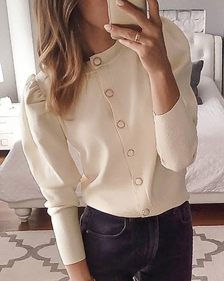 Solid Puff Long Sleeve Buttoned Cardigan
