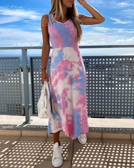boutiquefeel / Tie Dye Print Sleeveless Slit Casual Dress
