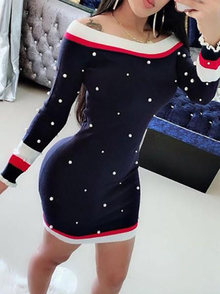 Beaded Design Striped Tape Bodycon Dress