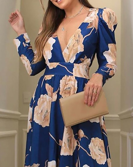 Blooming Floral Print Long Sleeve Maxi Dress