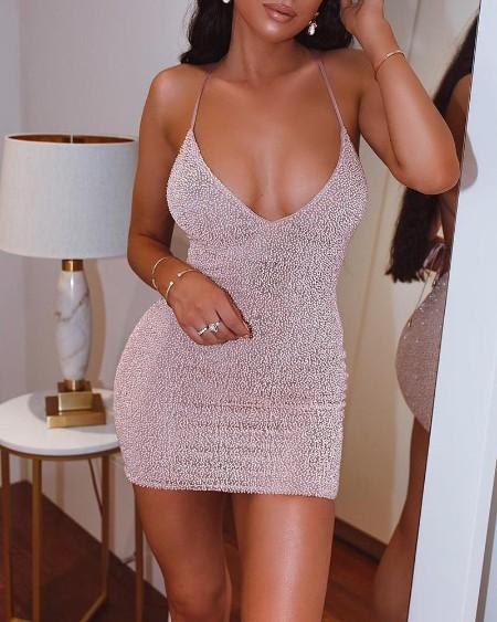 Glitter Spaghetti Strap Hot Stamping Bodycon Dress