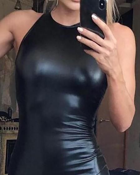PU Sleeveless Bodycon Dress