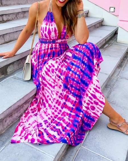 Halter Tie Dye Print Backless Maxi Dress
