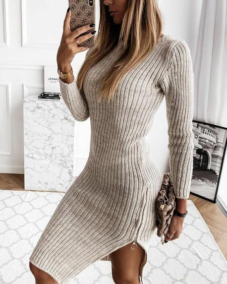 Solid Long Sleeve Skinny Knitted Split Hem Mini Dress