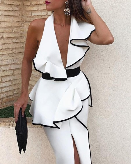 Contrast Binding Ruffles Backless Slit Dress