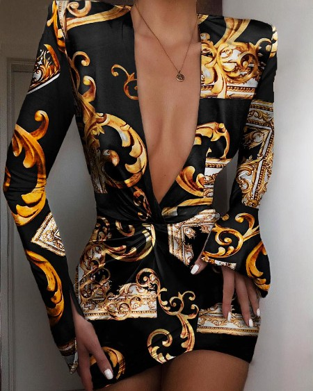Retro Print Front Knotted Slit Sleeve Dress