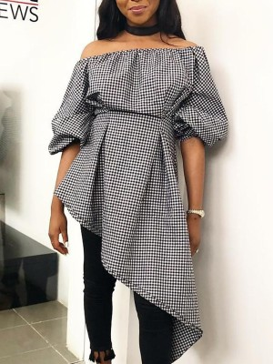 Gingham Print Off Shoulder Irregular Hem Top