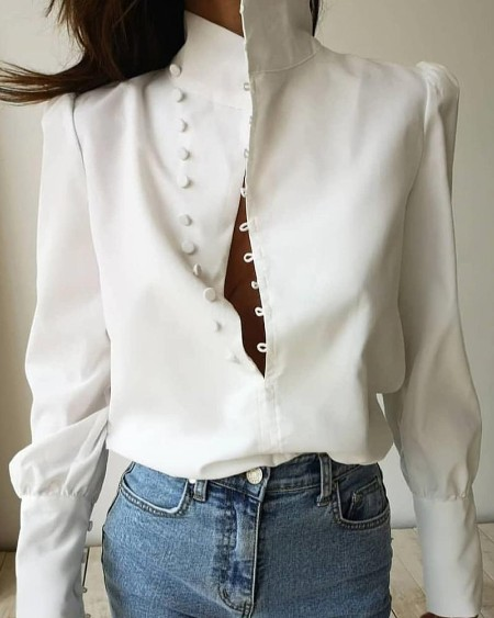 Buckle Stand Collar Top