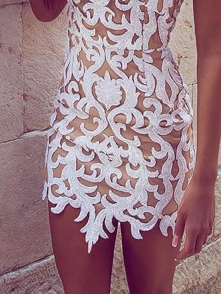 Lace Applique Sleeveless Bodycon Dress