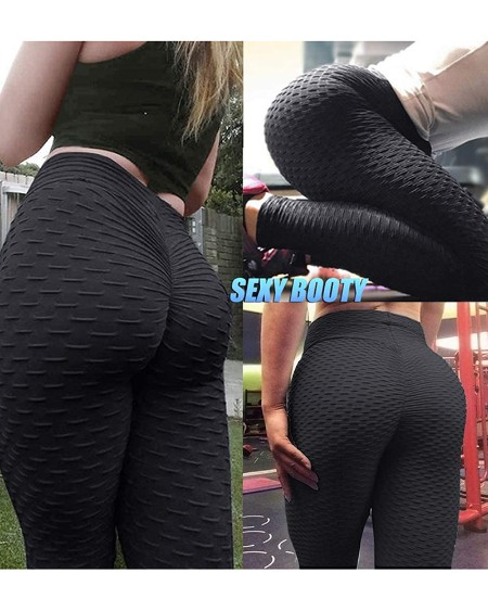 Bubble Textured High Waist Yoga Pants Tummy Control Slimming Booty Leggings