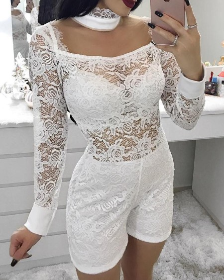 Eyelash Lace Cut Out Romper