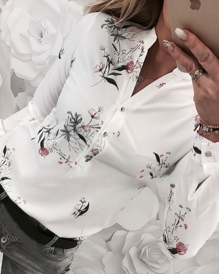 f56c52eb7227f Floral Print Long Sleeve Casual Shirt ...