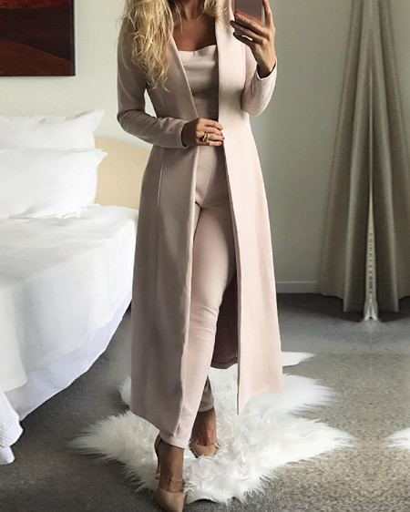 3PCs Solid Cardigan Coat With Top and Pants