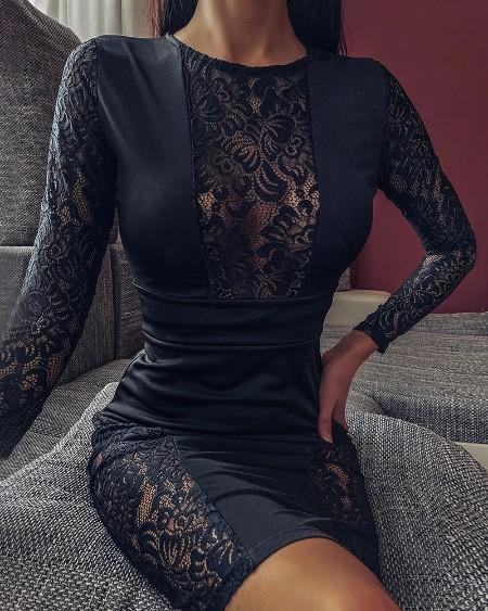 Black Lace Insert Midi Dress