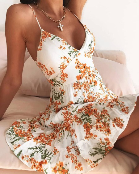 Spaghetti Strap Ditsy Floral Print Dress