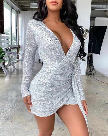 Sequins Long Sleeve Tight Wasist Dress