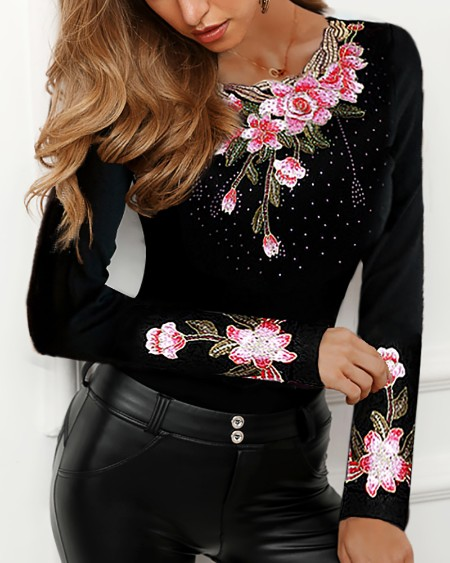Flower Embroidery Studded Detail Blouse