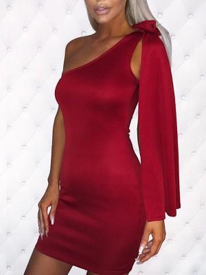One Shoulder Bowtie Split Sleeve Bodycon Dress