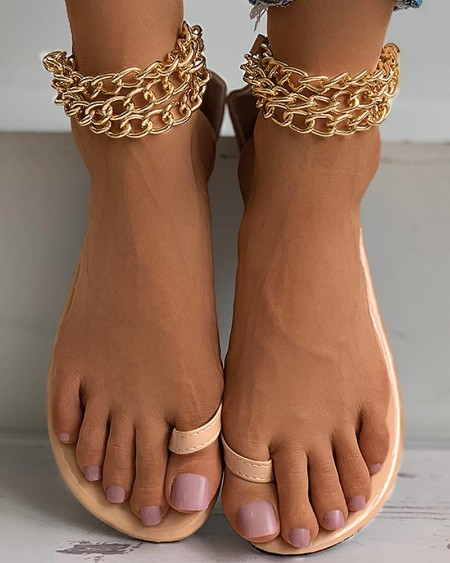 Toe Ring Chain Strap Flat Sandals