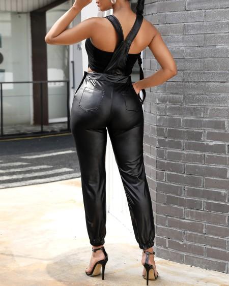 Pocket Design Plain Suspender Jumpsuit