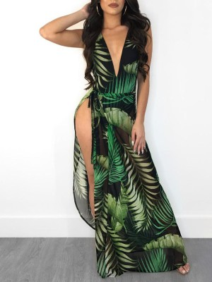 Leaf Print Plunge Backless Bodysuit With Cover Ups
