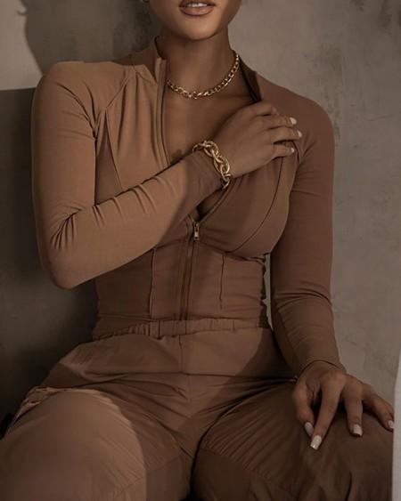 Zipper Design Long Sleeve Bodysuit