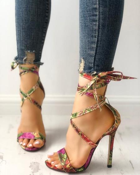cf00edfdb53  44.99 ·  . Leaf print Strappy Thin Heeled Sandals