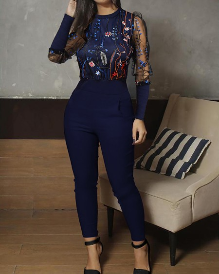 Mesh Floral Embroidery Jumpsuit
