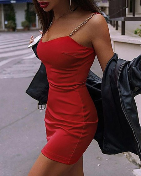Chain Strap Solid Bodycon Dress