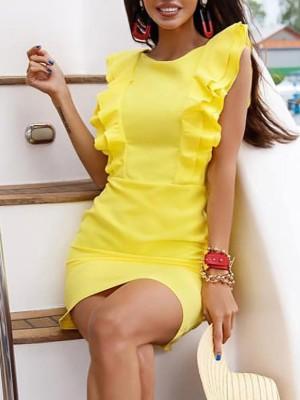 Layered Ruffles Design Backless Bodycon Dress