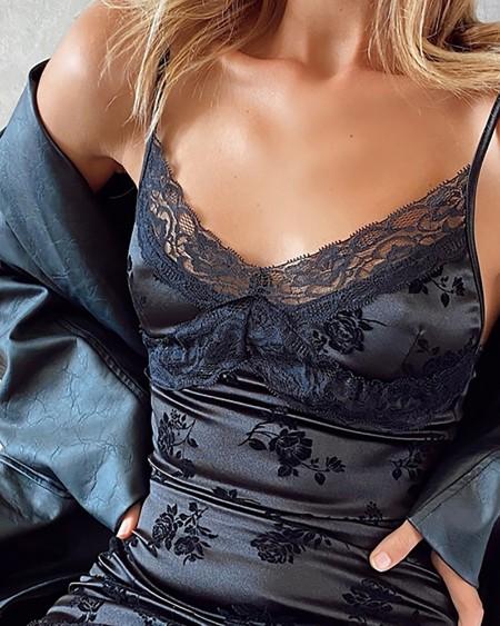 Floral Jacquard Spaghetti Strap Lace Dress