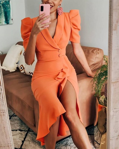 V-Cut Ruffle Hem Slit Wrap Midi Dress