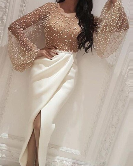 Beaded Embellished Mesh Patchwork Slit Dress