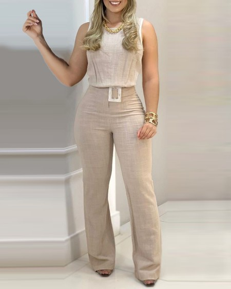 Sleeveless Plain Top & Pants Set With Belt