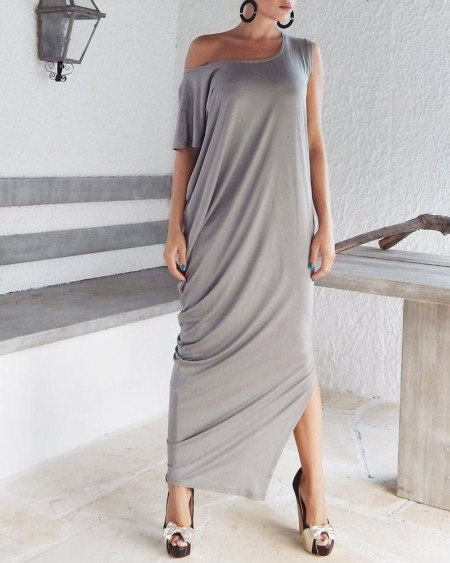 Side Slit One Shoulder Maxi Dress