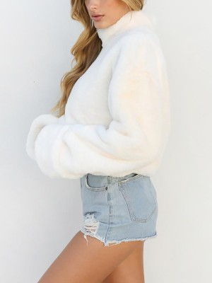 High Neck Teddy Sweatshirt