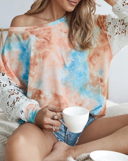 boutiquefeel / Crochet Lace Sleeve Tie Dye Print Casual Top