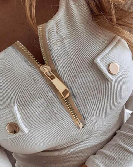 Button Zipper Design Long Sleeve Blouse