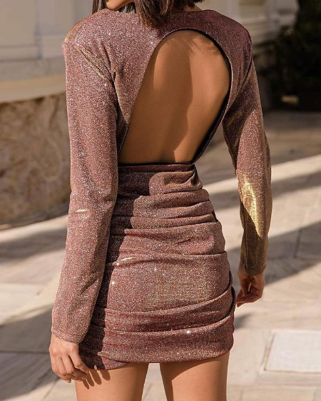 Glitter Open Back Ruched Party Dress