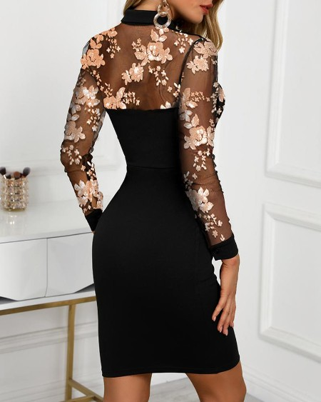 Mesh Floral Embroidery Midi Dress