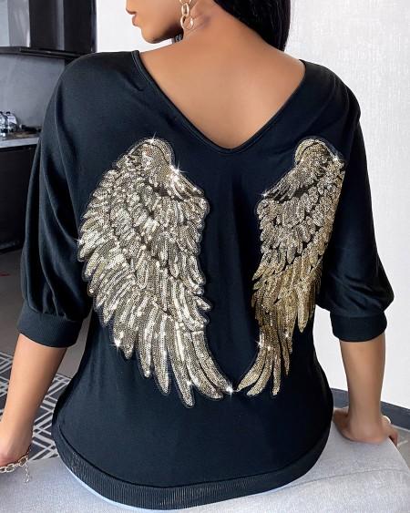Wings Pattern Sequins Long Sleeve Casual Sweatshirt
