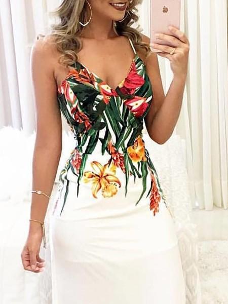 Floral Print Deep V Slip Maxi Dress