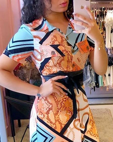 Short Sleeve Mixed Print Shirt Maxi Dress