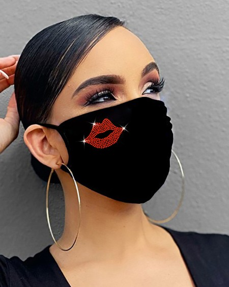 Diamond / Lip / Star / Heart / Wing Pattern Bling Rhinestone Face Mask