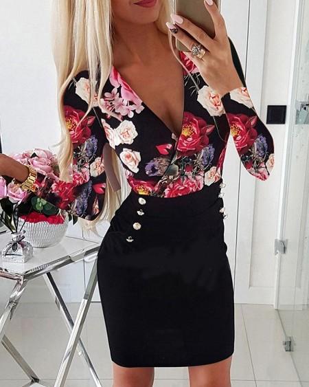 Plunge Floral Print Buttoned Dress