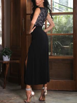 Lace Splicing Sleeveless Side Split Sexy Dress