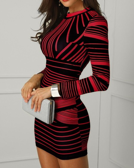 Striped Colorblock Long Sleeve Bodycon Dress